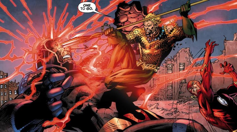 Darkseid derrotado por Aquaman.