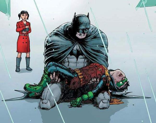Batman llorándole a Damian.