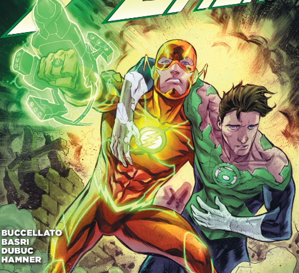 Flash usando el anillo de Green Lantern.