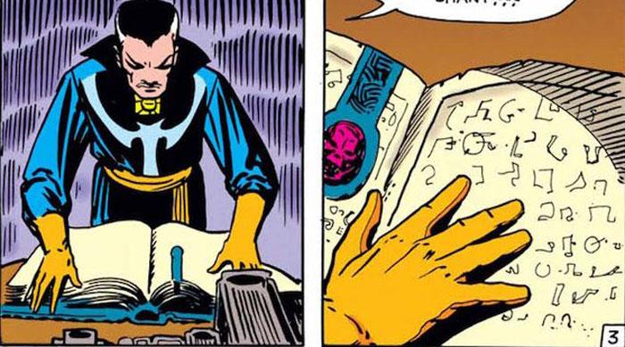 Doctor Strange leyendo el Libro de los Vishanti.