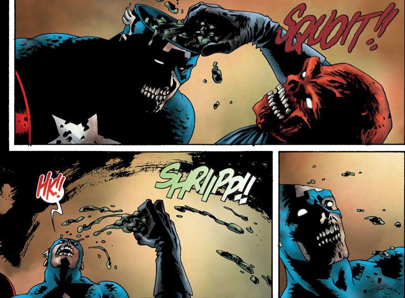 Pelea Captain America vs Red Skull en Marvel Zombies.