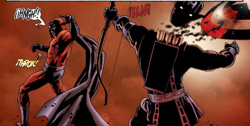 Magneto decapita a Hawkeye en Marvel Zombies.