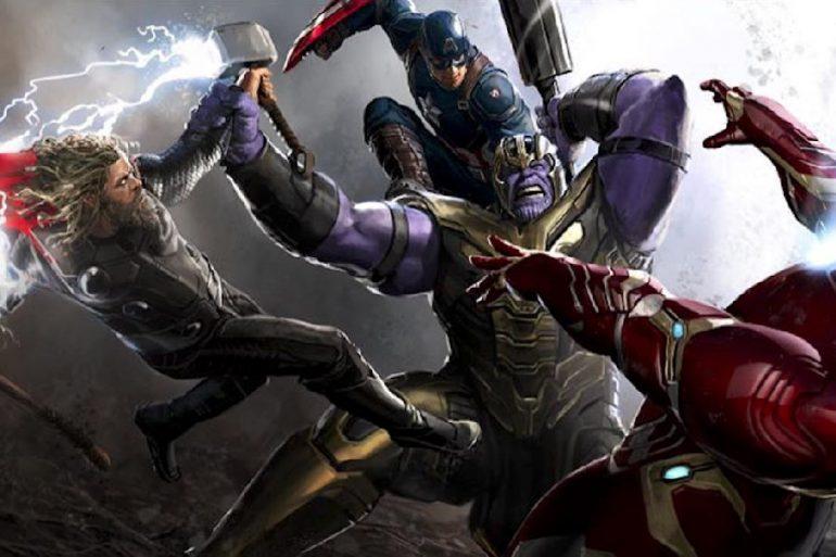 Arte conceptual de la pelea entre Avengers y Thanos en Endgame