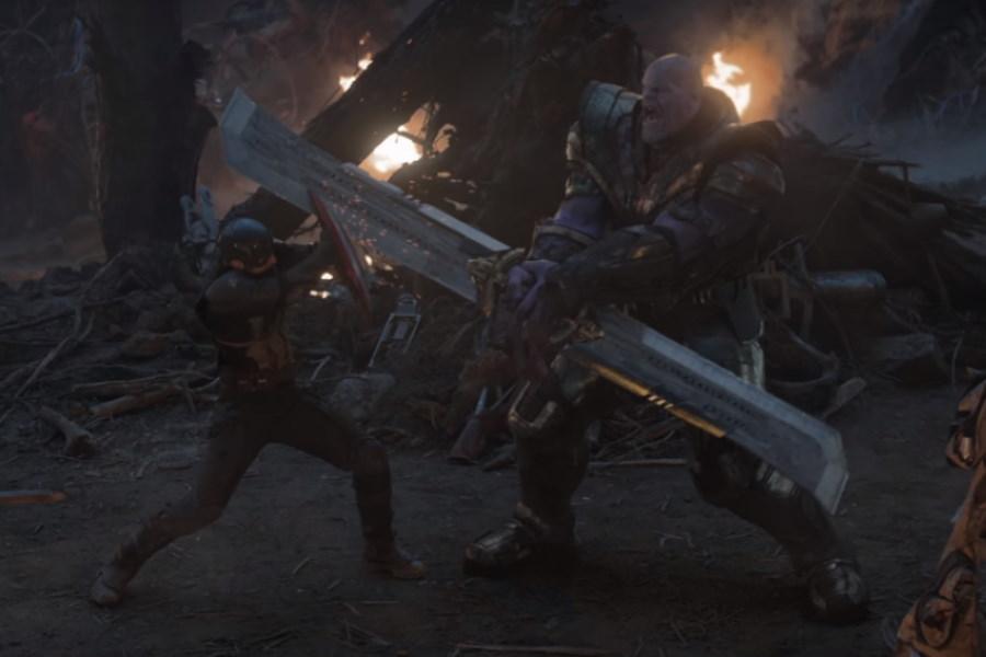 Thanos y el Capitán América en combate