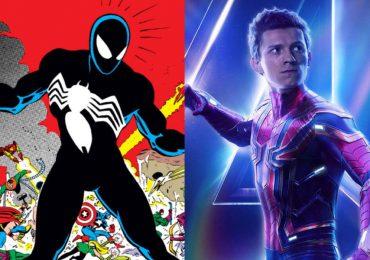 Fan art de Spider-Man con Tom Holland usando el traje negro