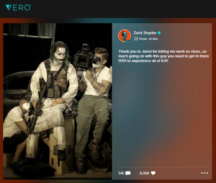 Zack Snyder comparte imágen inédita de Joker en el set de Justice League