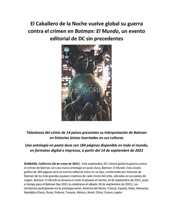 El Caballero de la Noche vuelve global su guerra contra el crimen en Batman: El Mundo, un evento editorial de DC sin precedentes.